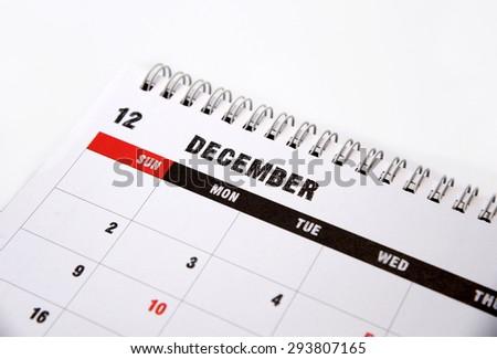 December calendar on a white background - stock photo