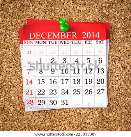 December 2014  Calendar on cork board , 3d render - stock photo