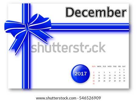 December 2017 - Calendar series with gift ribbon design