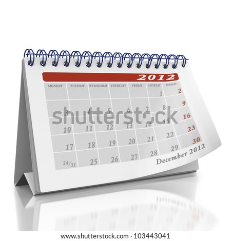 December desktop Organizer on a white background with a page curl on the top page - stock photo