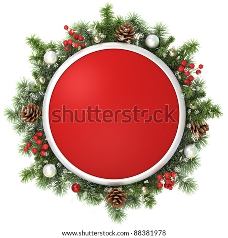 December frame from christmas tree branches. - stock photo