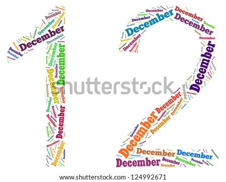 December info-text graphics arrangement on white background