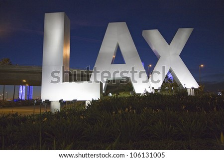 DECEMBER 2007 - Night shot of Los Angeles International Airport sign, LAX, in Los Angeles, California - stock photo