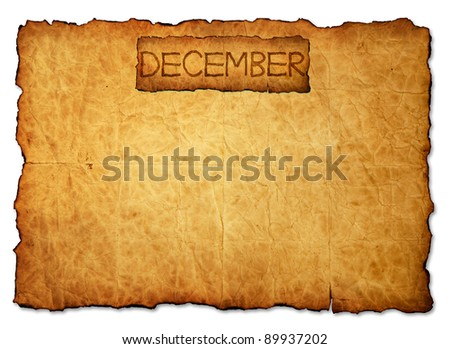 December on 2013 Calendar background old paper - stock photo