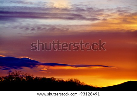 December sunrise, Webster County, West Virginia, USA - stock photo