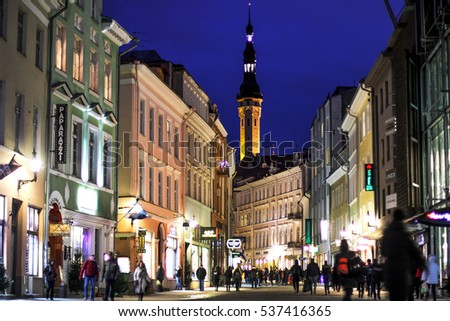 December 7, 2016, Tallinn - a view of the old town and the Town Hall