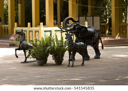 December 4, 2016 Thailand. Pattaya. The sculptural composition. Statues of elephants, horses and deer. Chinese park dedicated to Lao Tzu and Confucius.