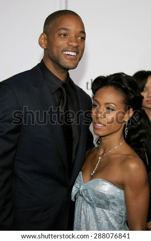 """December 7, 2006. Will Smith and Jada Pinkett-Smith attends the Los Angeles Premiere of """"The Pursuit of Happyness"""" held at the Mann Village Theater in Westwood, California United States.  - stock photo"""