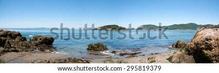 Deception pass panorama, beach landscape, islands, whidbey island