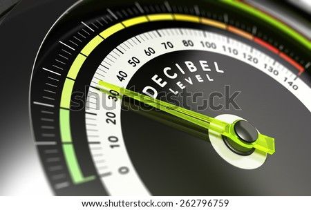Decibel measurement. Gauge with green needle pointing 30 dB, concept of noise reduction - stock photo