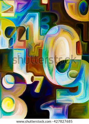 Decimal Paint series. Abstract design made of painted decimal digits on the subject of math, science and education - stock photo