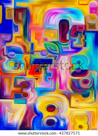 Decimal Paint series. Background design of painted decimal digits on the subject of math, science and education - stock photo