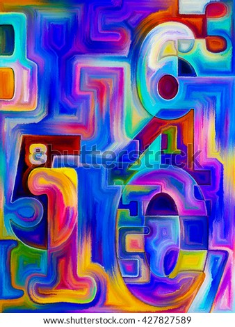 Decimal Paint series. Design composed of painted decimal digits as a metaphor on the subject of math, science and education - stock photo