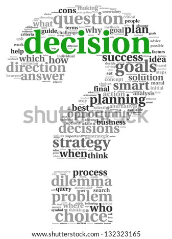 Decision making concept in tag cloud on white background - stock photo