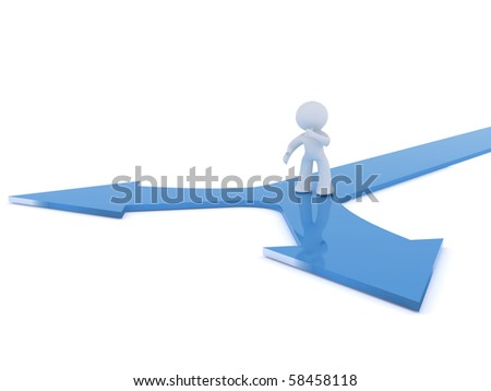 Decision point at crossroads. Image isolated on a white back ground - stock photo