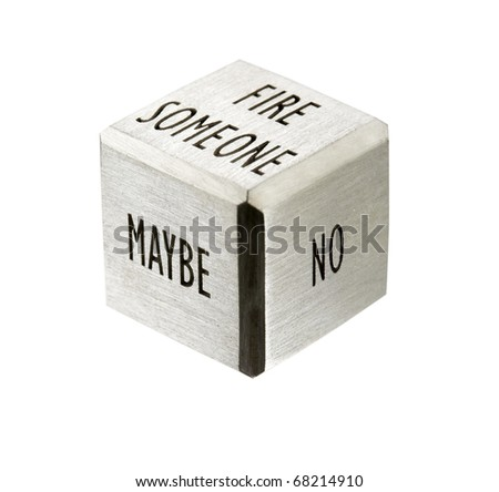 decision symbol, separated dice - stock photo