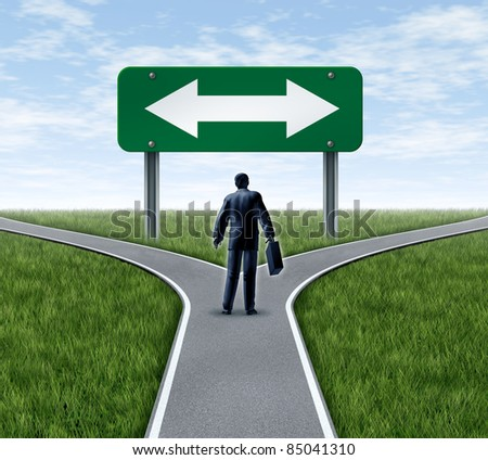 Decision time for a career with a business man at a cross roads  and road sign with arrows showing a fork in the road representing the concept of direction when facing two equal or similar options. - stock photo