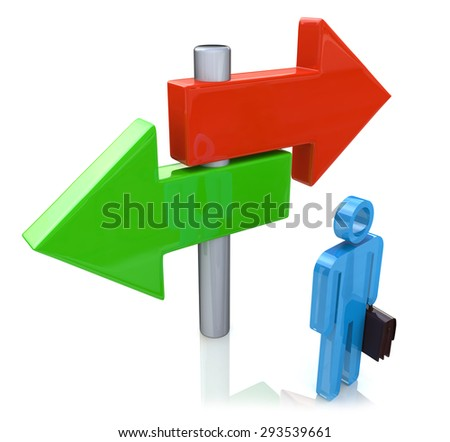 Decision time for a career with a business man at a cross roads and road sign with arrows showing a fork in the road representing the concept of direction when facing two equal or similar options - stock photo