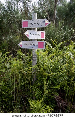 Decision wooden sign: my way, your way, our way - stock photo