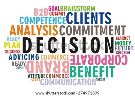DECISION word on colorful wordcloud concept - stock photo