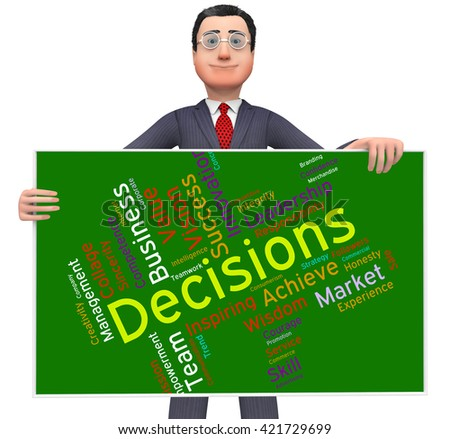 Decision Words Meaning Decide Choices And Text  - stock photo