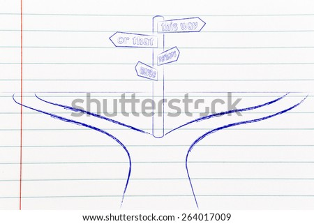 decisions and choices, crossroad with road sign with opposite and doubtful directions - stock photo