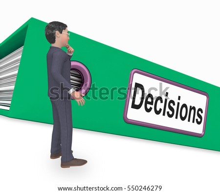 Decisions File Indicating Administration Paperwork And Folder 3d Rendering