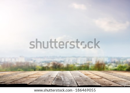 deck and landscape  - stock photo