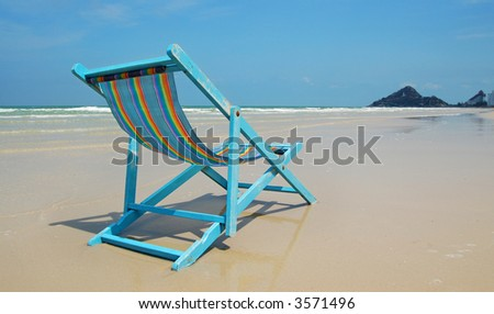 Deck Chair on Beach - stock photo