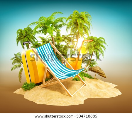 Deck chair on the beach with palms and suitcase. Unusual travel illustration - stock photo