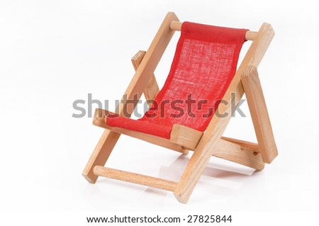 Deck chair on white background - stock photo