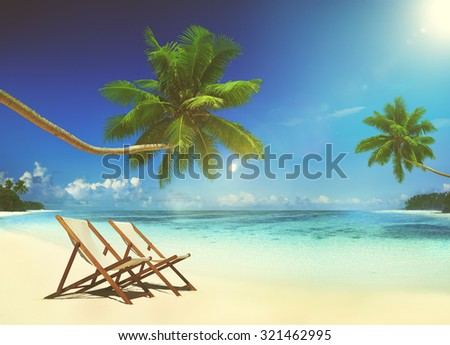 Deck Chair Tropical Beach Summer Paradise Concept - stock photo