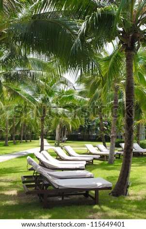 Deck chairs at a tropical resort in Thailand. - stock photo