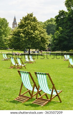 Deck chairs in St. James's Park, London, UK - stock photo