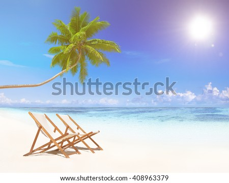 Deck Chairs on Tropical Beach Concept