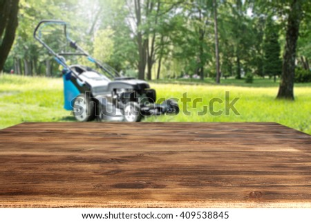 deck garden and forest  - stock photo