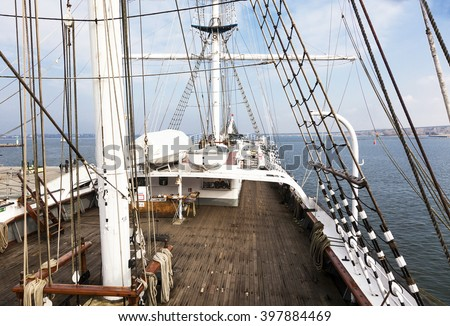 deck, mast and rigg of an old sailing ship Gorch Fock - stock photo