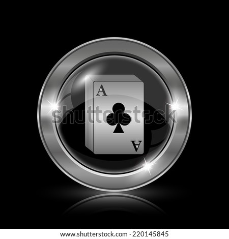 Deck of cards icon. Internet button on black background.  - stock photo