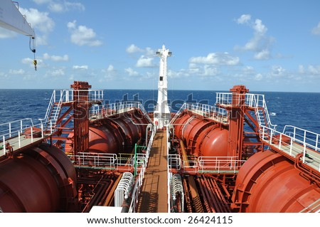 deck of chemical tanker - stock photo