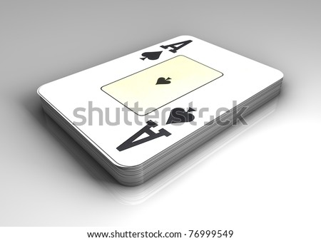 Deck of poker, black jack, playing cards or gambling on white background with ace of spades on top of deck. - stock photo