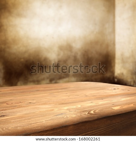 deck of wood and shadows on wall  - stock photo