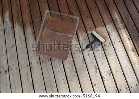 Deck painted with water resistant stain - stock photo