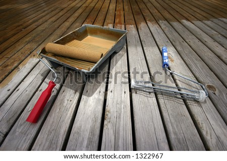 Deck Painting tools - stock photo