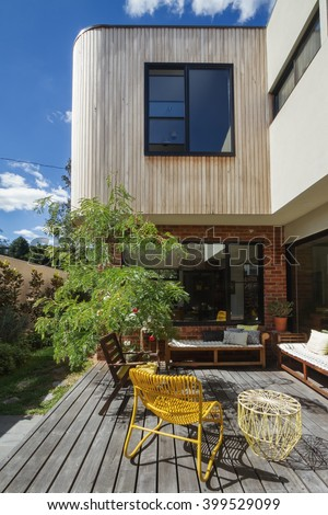 Deck patio courtyard in modern home extension renovation in Melbourne - stock photo