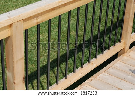 Deck railing section - stock photo