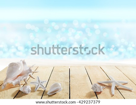 Deck with shells - stock photo