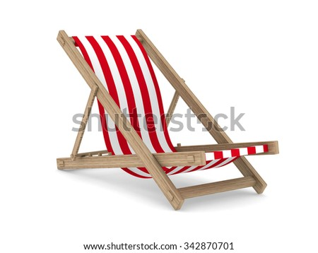 Deckchair on white background. Isolated 3D image - stock photo