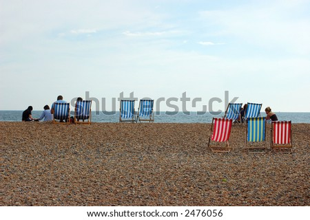 Deckchairs on the Beach of Brighton, England, UK