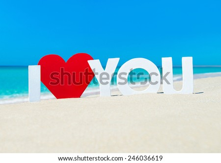 Declaration of I love you words with red heart at beach against waves and blue summer sky - stock photo