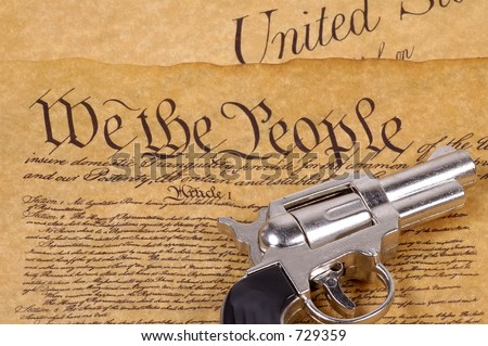 Declaration of Independence and a Gun.  RIght To Bare Arms Concept. - stock photo